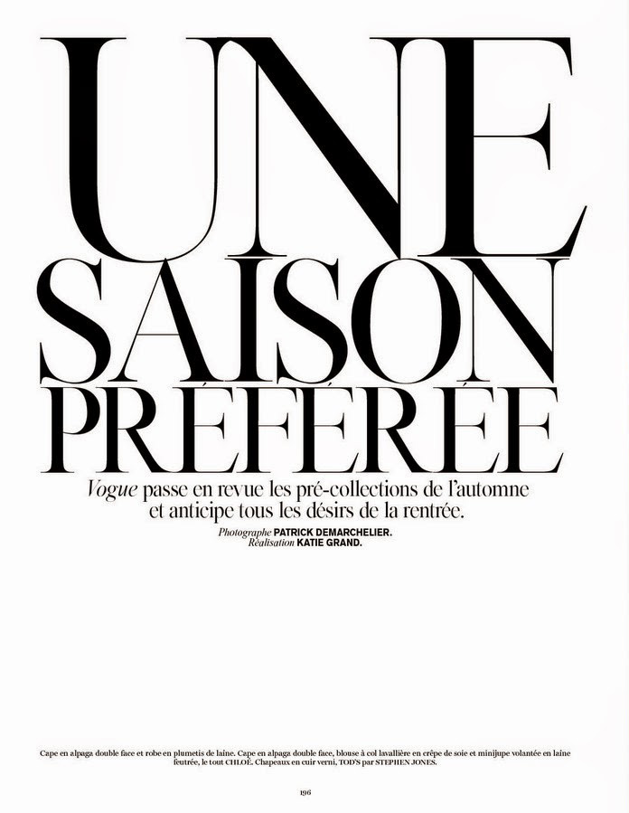 Une Saison Préférée | Vogue Paris June / July 2014 (Photography: Patrick Demarchelier)