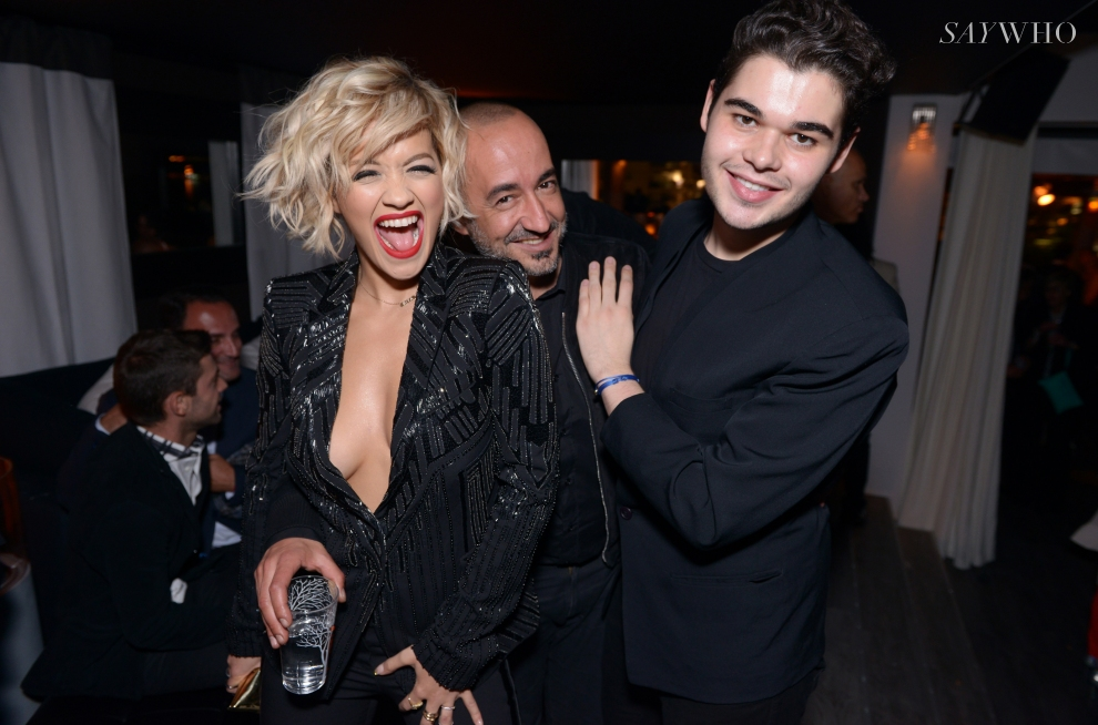 Rita Ora, Saif Mahdhi & Roberto Cavalli Jr at Le Club D'Albane at Cannes 2014 (Photography: Jean Picon via saywho.fr)