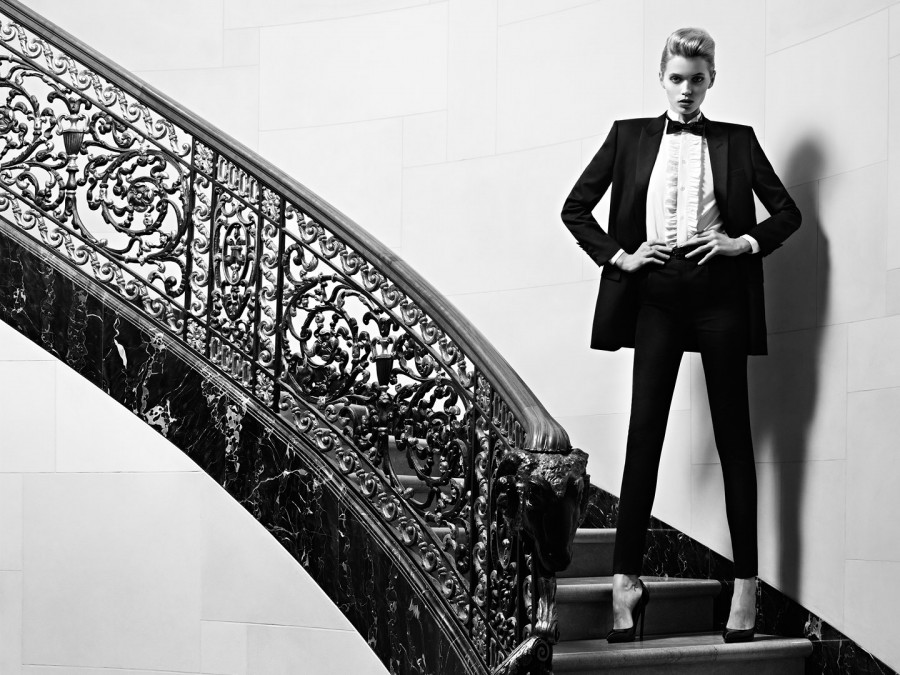 Abbey Lee for Saint Laurent Le Smoking (Photography: Hedi Slimane)