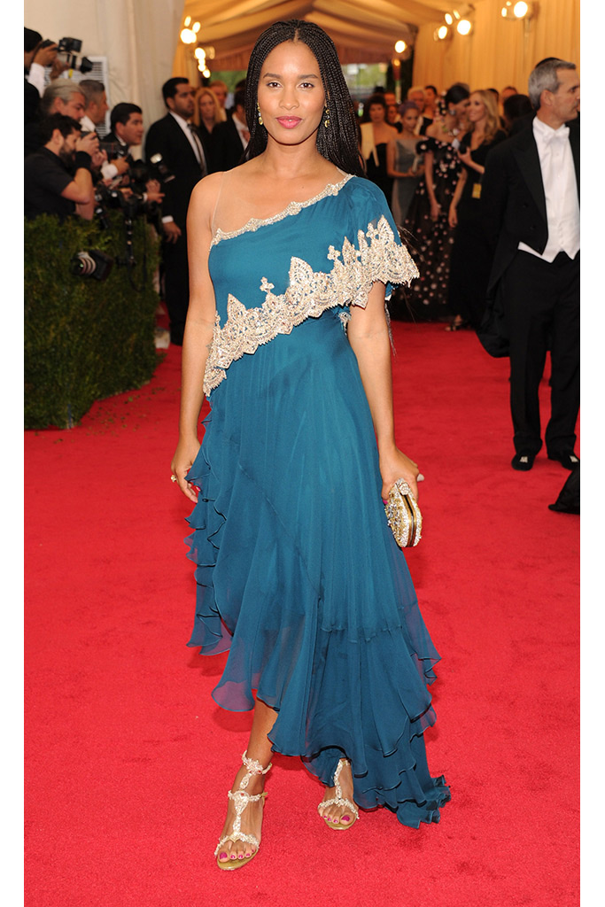 Joy Bryant attends 2014 Met Gala wearing Marchesa with Harry Winston jewels. (Photography: Getty Images via Style.com)