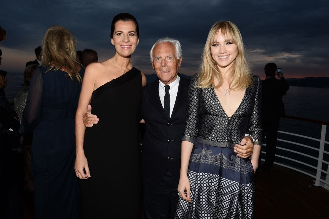 Suki Waterhouse with Giorgio Armani at Cannes 2014