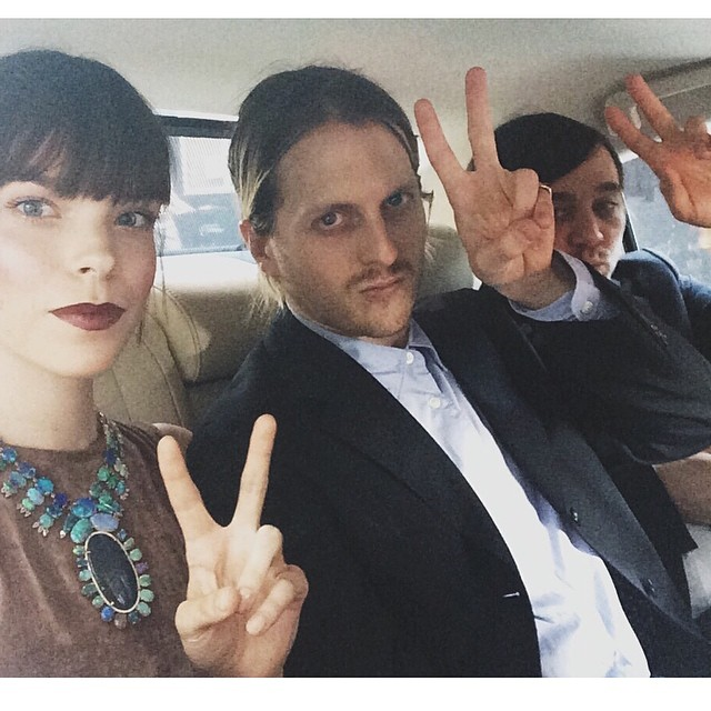 Meghan Collison with Shane Gabier and Christopher Peters of Creatures of the Wind attend 2014 CFDA Fashion Awards (Photography: Meghan Collison via instagram.com/modelsdot)