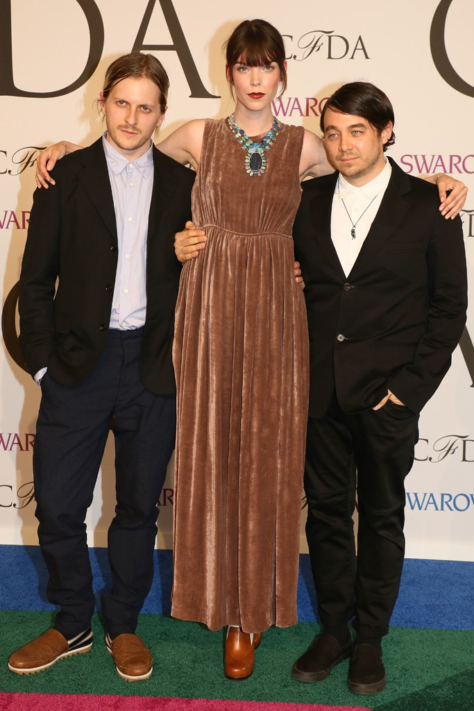 Meghan Collison with Shane Gabier and Christopher Peters of Creatures of the Wind attend 2014 CFDA Fashion Awards (Photography: Evan Falk via wwd.com)