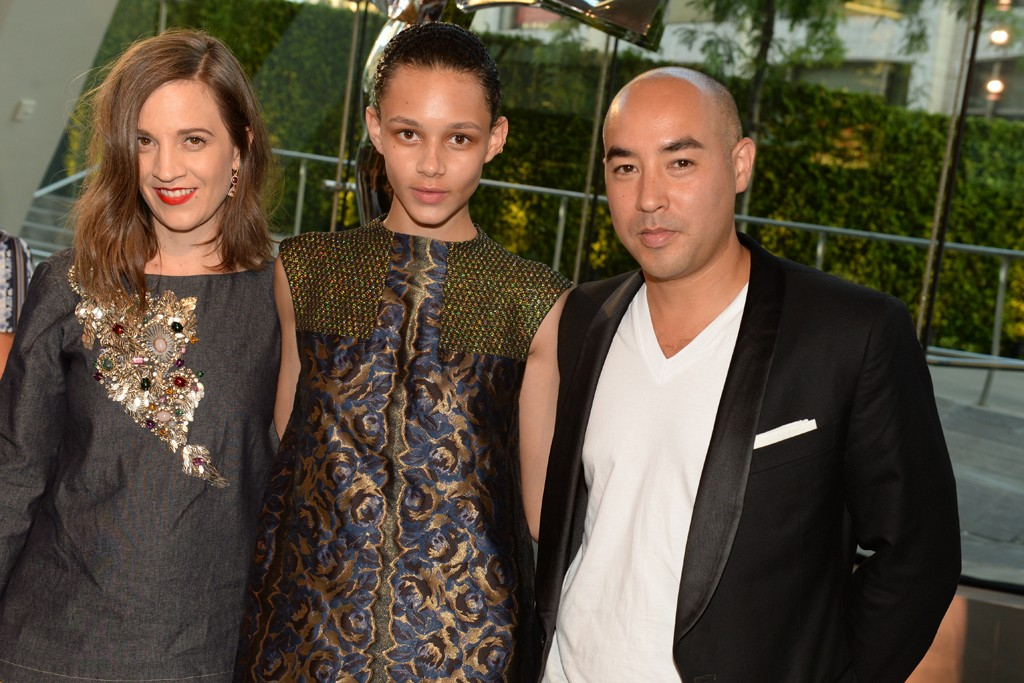 Binx wears Suno with Erin Beatty and Max Ossterweis at 2014 CFDA Fashion Awards (Photography: Steve Eichner via wwd.com)