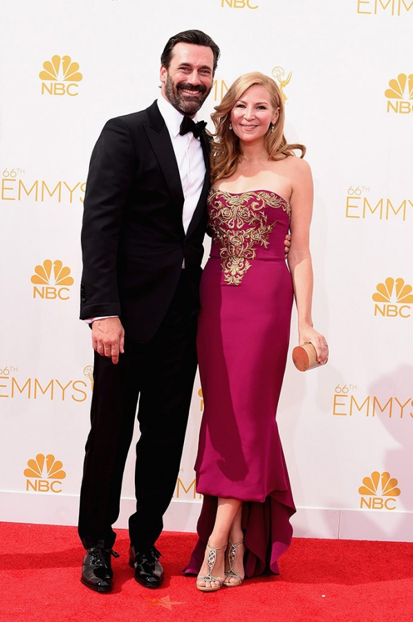 Jennifer Westfeldt attends 66th Primetime Emmy Awards with Jon Hamm (Makeup: Shannon Grey Williams; Photography: Getty via Style.com)