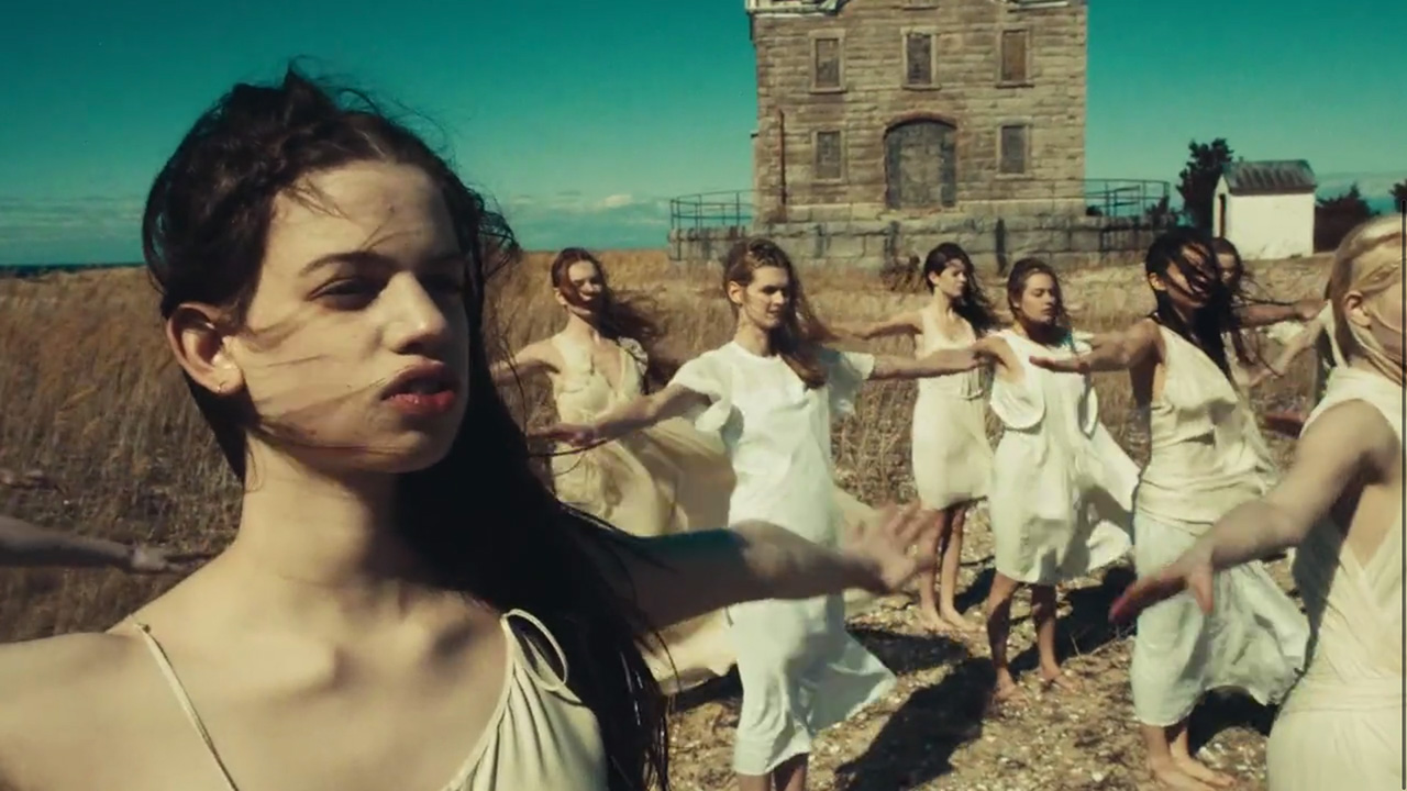 """Morning calisthenics with the cult — Lily McMenamy in """"Weight of Love"""" by The Black Keys (Video still: Theo Wenner)"""