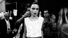 Naty Chabanenko is at the eye of the storm | Carolina Herrera Spring 2015 (Video still: Damien Neva)