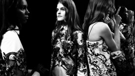 Kia Low is ready for the show to begin | Mary Katrantzou Spring 2015 (Video still: Damien Neva)