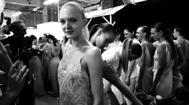 Maja Salamon is as ever calm and collected amidst the tumult | Richard Nicoll Spring 2015 (Video still: Damien Neva)