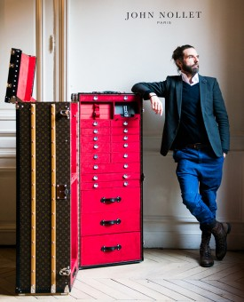 John Nollet stands with his custom Louis Vuitton touring case (Photography: via thecoveteur.com)