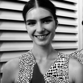 Gaby Loader understandably smiles, what with opening show and all | Paul Smith Spring / Summer 2016 (Video still: Damien Neva)