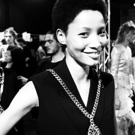 Lineisy Montero returns with a smile | Alexander McQueen Spring / Summer 2016 (Video still: Damien Neva)
