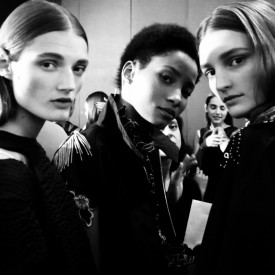 Olivia Jansing, Lineisy Montero & Julia Fleming | Sacai Spring / Summer 2016 (Video still: Damien Neva)