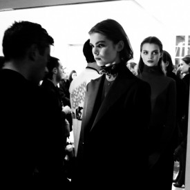 Designer Guillaume Henry readies show opener Sandra Schmidt | Nina Ricci Autumn / Winter 2016 (Video still: Damien Neva)