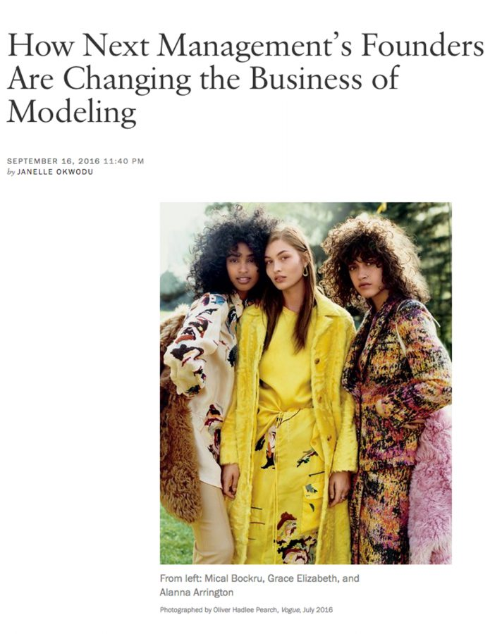 Next News: How Next Management's Founders Are Changing the Business of Modeling via Vogue.com